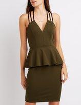 Charlotte Russe Strappy Peplum Bodycon Dress