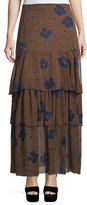 See by Chloe Floral Silk Tiered Maxi Skirt, Coffee