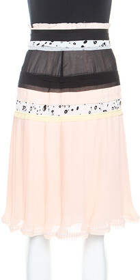 Carven Cream Chiffon Patchwork Detail Pleated Skirt M