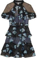 Self-Portrait Guipure Lace-paneled Fil Coupé Organza Mini Dress - Blue