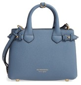 Burberry Small Banner House Check Leather Tote - Blue