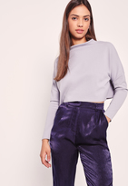 Missguided Petite High Neck Long Sleeve Top Grey