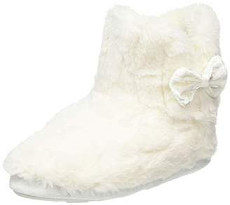 totes Women's Ladies Textured Fur Boot Slippers Hi-Top, White (Cream CRM), S 36/37 EU