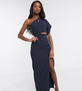 Vesper Tall maxi dress with thigh split in navy