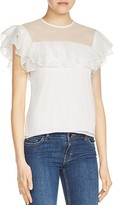 Maje Lucette Ruffled Silk Top