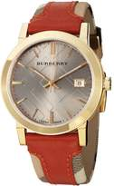 Burberry Men's BU9016 Large Check Leather on Canvas Strap Dial Watch