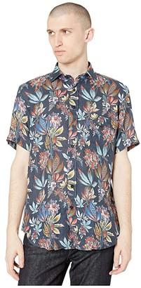 Etro Tropical Floral Linen Short Sleeve Shirt (Navy) Men's Clothing