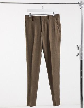 ASOS DESIGN wedding super skinny wool mix suit trousers in camel herringbone