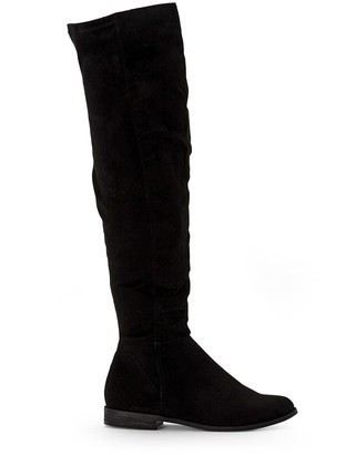 La Redoute Collections Faux Suede Thigh-High Boots with Flat Heel