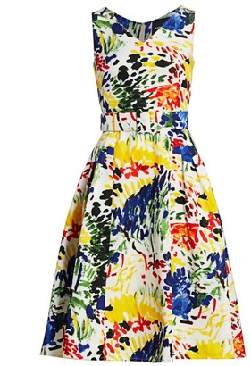 Samantha Sung Devon Belted Silk & Cotton Midi Dress