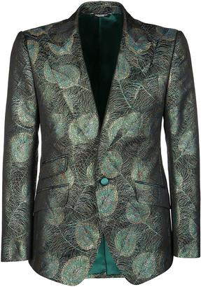 Dolce & Gabbana Green Silk-blend Blazer