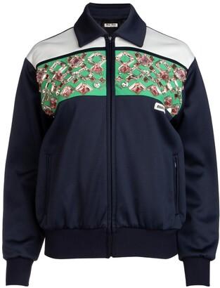 Miu Miu Crystal Embellished Panelled Jacket