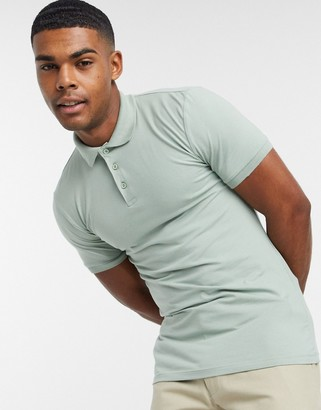 ASOS DESIGN organic muscle fit jersey polo in green