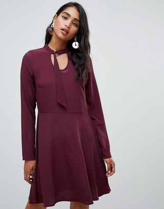 Vila long sleeve smock mini dress in burgundy-Red
