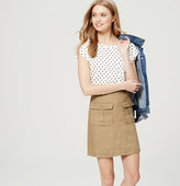 LOFT Polka Dot Linen Pocket Tee