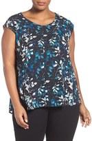 Sejour Plus Size Women's Cap Sleeve Crepe Swing Top