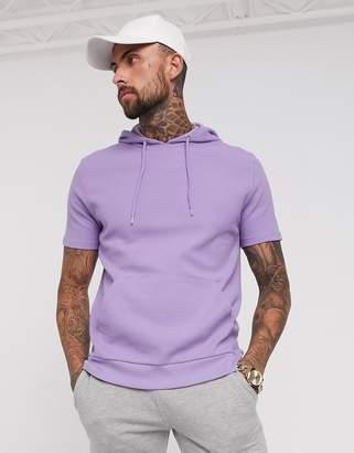 Asos Design DESIGN short sleeve hoodie in waffle texture in light purple