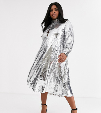 Neon Rose Plus midi shirt dress with full skirt in sequin-Silver