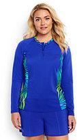 Lands' End Women's Plus Size Long Long Sleeve Half-zip Rash Guard-Blue Tropical/Electric Blue
