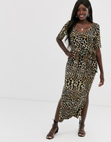 Asos Design DESIGN maxi dress with belt in animal print