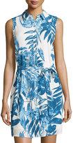 Neiman Marcus Printed Belted Sleeveless Shirtdress, Blue