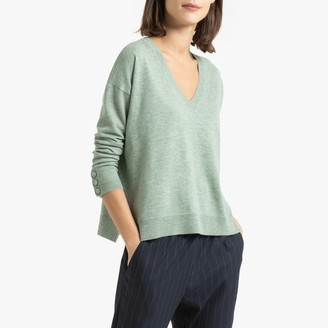 Des Petits Hauts Fine Knit Wool Jumper with V-Neck