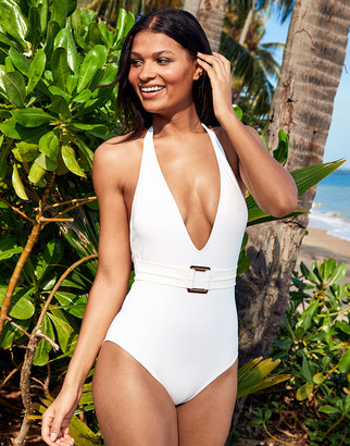 Figleaves Icon Marseille Non-Wired Belted Plunge Shaping Swimsuit
