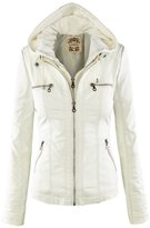 NiSeng Women's Casual Zip Up Faux Leather Bomber Jacket with Hoodie M