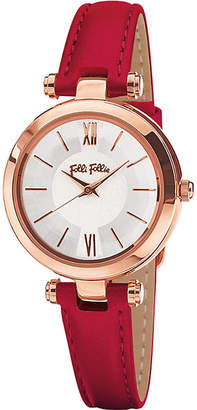 Folli Follie WF16R009SPS_DR Lady Bubble Mini rose gold-plated stainless steel and leather watch