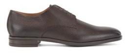 HUGO BOSS Derby Shoes In Monogram Embossed Leather - Dark Brown
