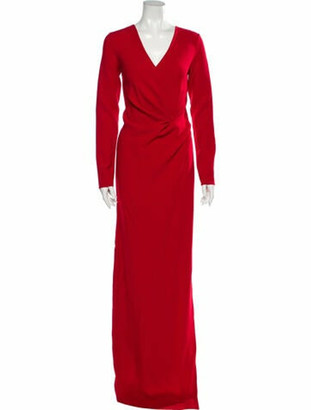 Lanvin V-Neck Long Dress Red