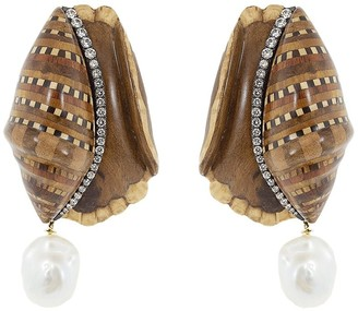 Silvia Furmanovich 18kt yellow gold diamond Marquerty Shell earrings