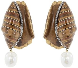 Silvia Furmanovich 18kt yellow gold diamond Marquerty Shell earrings