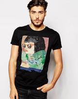 Scotch & Soda T-shirt With Face Print - Black
