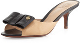 Tory Burch Audrina Leather Bow Slide, Beige/Black
