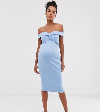 Asos DESIGN Maternity baby shower off shoulder knot detail midi dress-Blue