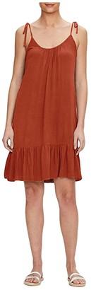 Michael Stars Della Spaghetti Tie Dress w/ Peplm in Lemoore Crepe Rayon (Red Clay) Women's Dress