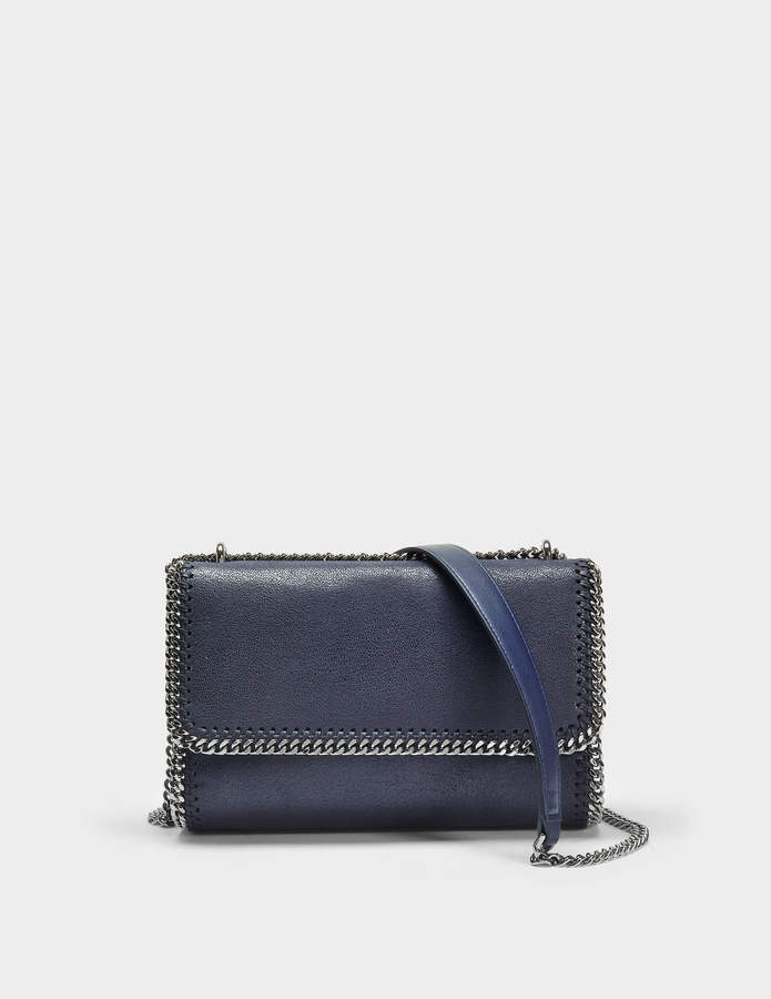 Stella McCartney Shaggy Deer Falabella Shoulder Bag in Navy Polyester