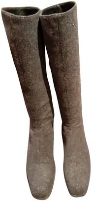 Prada Grey Tweed Boots