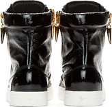 Giuseppe Zanotti Black Patent Leather London Shark Tooth Sneakers