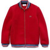 Lacoste Girls' Striped Finish Quilted Cotton Sweatshirt