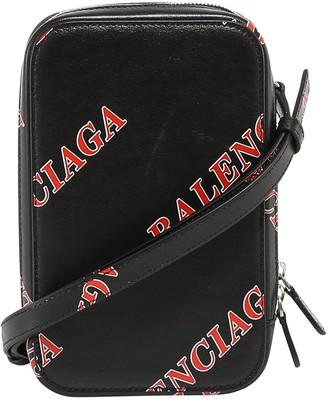 Balenciaga All Over Logo Print Shoulder Bag