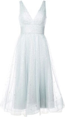 Marchesa glitter tulle midi dress