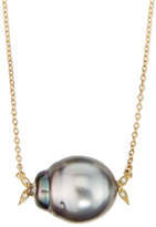 Mizuki 14k Gold Diamond Leaf & Black Tahitian Pearl Necklace