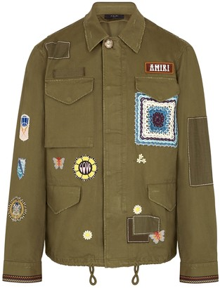 Amiri Brothers army green appliqued cotton jacket
