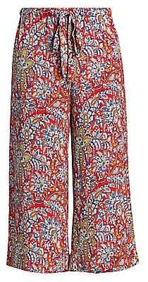 Etro Women's Paisley Cropped Wide-Leg Trousers
