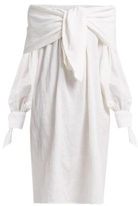 Merlette New York Off The Shoulder Tumbled Cotton Blend Midi Dress - Womens - White
