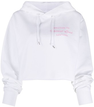 Helmut Lang Cropped Slogan Embroidered Hoodie