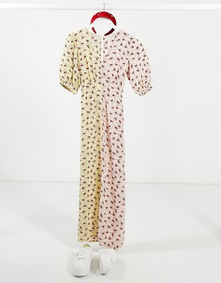 Miss Selfridge puff sleeve mixed print dress in blush and lemon