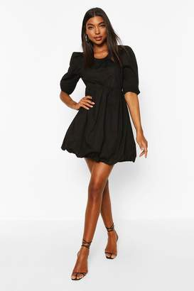 boohoo Tall Cotton Poplin Puff Ball Dress
